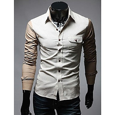 Men's Color Blocking Long Sleeve Shirt