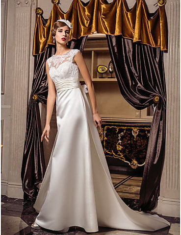 A-line Queen Anne Court Train Satin And Lace Wedding Dress (632802)