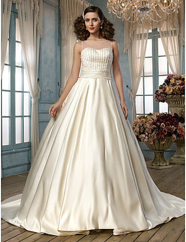 A-line Princess Jewel Chapel Train Satin and Tulle Wedding Dress (518999)