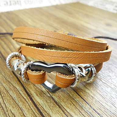 Fashion 17Cm Men's Beige Leather Bracelet(Beige)(1 Pc)