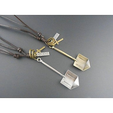 European Shovel Alloy Leather Pandant Necklace(1pc)