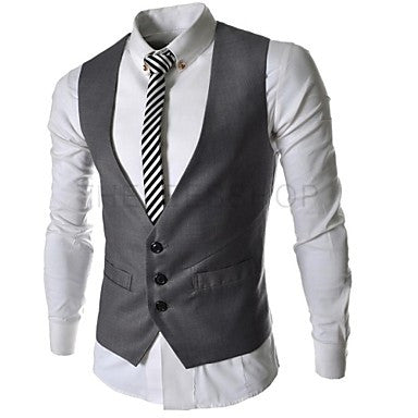 Men's Slim Solid Three Button Vest