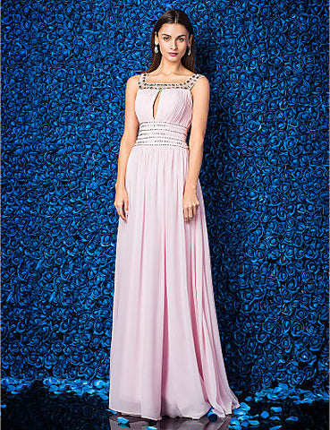 A-line Square Floor-length Georgette Evening Dress
