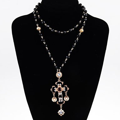 Black Resin Beads Rhinestone Cross Alloy Necklace