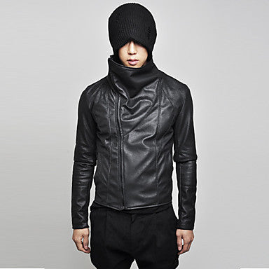 Men's stand collar slopping zipper stylish pu jacket