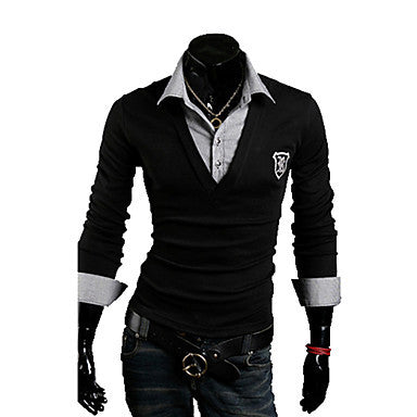 Men's Slim Two Piece Like POLO Shirt