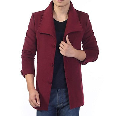 Men's Turn Down Collar Long Sleeve Suede Coat