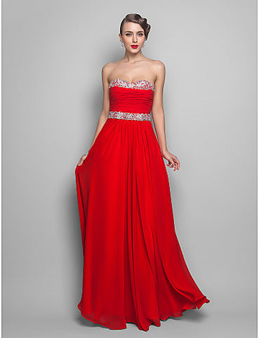 A-line/Princess Sweetheart Floor-length Chiffon Evening/Prom Dress