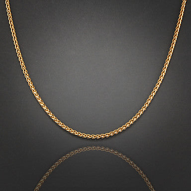 75cm,4mm,18K Gold Plated Figaro Chain Men's Braided Chain Necklace,Uneasy Fade