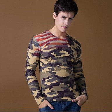 Men's V-neck 3D Prints Long-Sleeved T-shirts