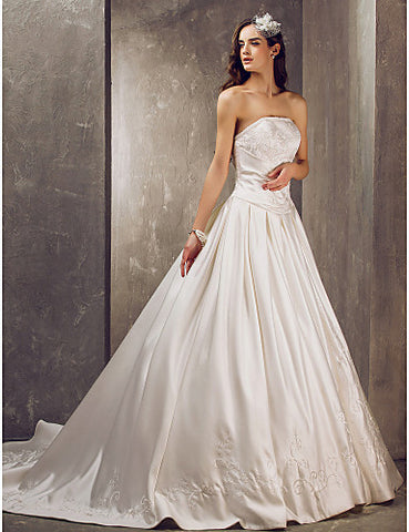 Ball Gown Strapless Court Train Satin Wedding Dress With A Wrap