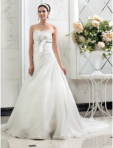 A-line Princess Strapless Court Train Side-Draped Organza Wedding Dress