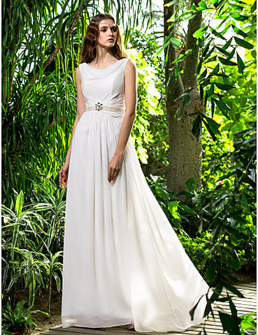 Sheath/Column Cowl Sweep/Brush Train Chiffon Wedding Dress (710767)