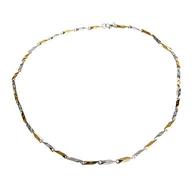 Fashion Golden Silver Two-tone Men's Alloy Chain Necklace