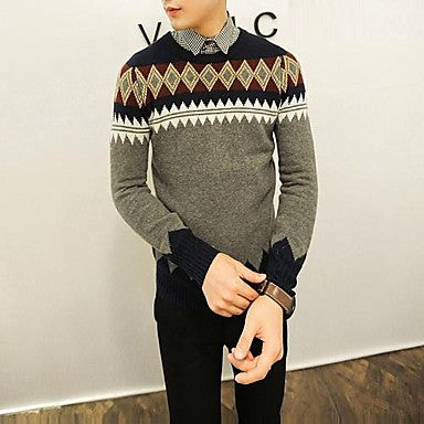 Men's Round Collar Autumn New Geometric Prints Long Sleeved Sweater