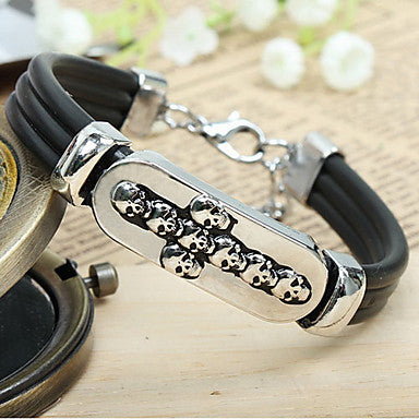 Fashion Heat Punk Cross Skull Black Alloy Leather Chain&Link Bracelet(1 Pc)