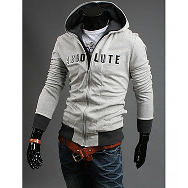Men's Fasion Simple Print Double Zipper Hoodie Cardigan Outwear