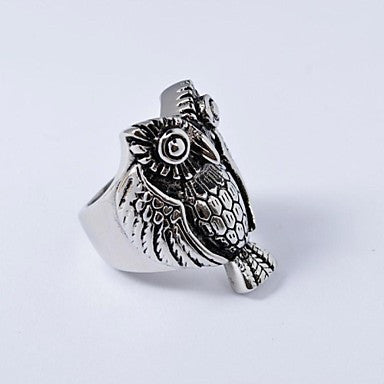 Men's Antique Silver Cast Metal Owl Stainless Steel Ring