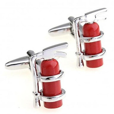 Fashion 1.8cm Men's Silver Copper Fire Extinguisher Cufflinks (Silver)(1 pair)