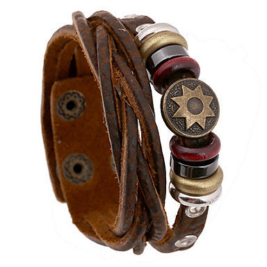 Fashion 20cm Men's Brown Leather Leather Bracelet(1 Pc)