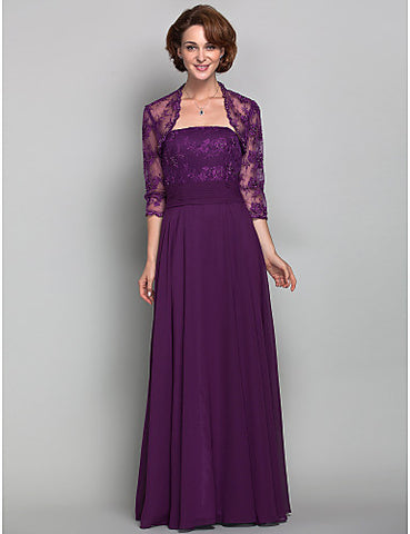 Sheath/Column Strapless Chiffon And Lace Mother of the Bride Dress