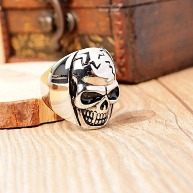 Fashion Men's Stainless Steel Skull Polished Ring
