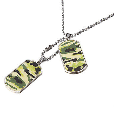 Men's (Double Tag Popular Green Camouflage) Silver Alloy Pendant Necklace (1 Pc)