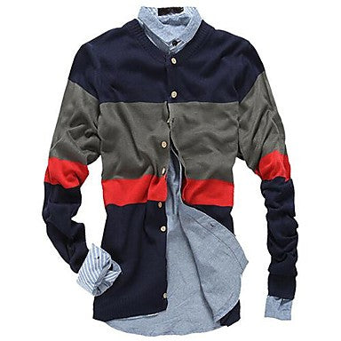 Men's Contrast Color Stripes Cardigan