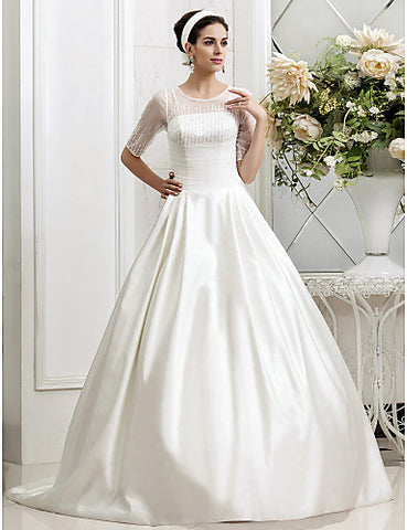 A-line Princess Jewel Court Train Beading Tulle Wedding Dress