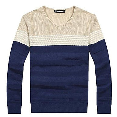 Men's V Neck Fashion Slim Contrast Color Sweater (More Colors)