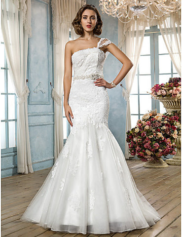 Trumpet/Mermaid One Shoulder Sweep/Brush Train Lace Tulle Lace Wedding Dress