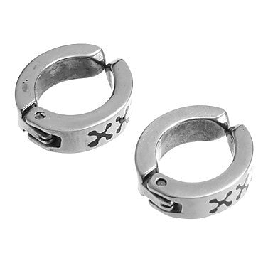 Classic Cross pattern Stainless Steel Silver Clip Earring(1 Pair)