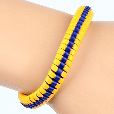 High Fashion Hard Middle Line Leather Bracelet Yellow And Blue(1 Piece)