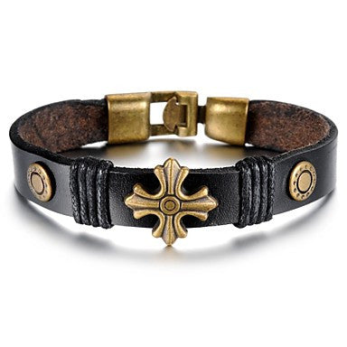 Retro Simplicity Gothic Leather Stainless Steel Bracelet (1 Pc)