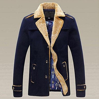 Men's Korean Cultivating Epaulets Lamb Lapel Thick Coat Woollen Overcoat