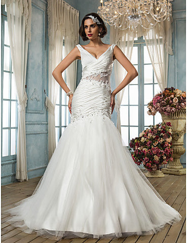 Fit and Flare V-neck Court Train Appliques Satin Chiffon And Tulle Wedding Dress