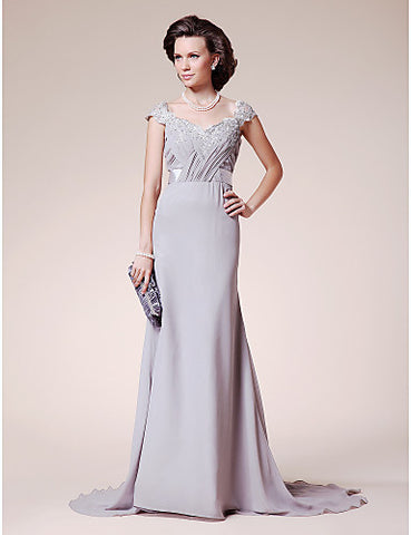 A-line Straps Court Train Chiffon Lace Mother of the Bride Dress