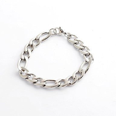 Fashion Vintage Men's Silver 316L Stainless Steel Chain Cable Bracelet