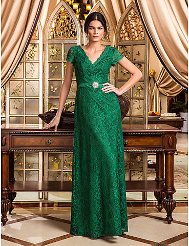 A-line V-neck Floor-length Lace Evening Dress