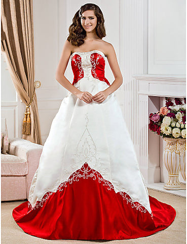 A-line Sweetheart Court Train Satin Embroidery Wedding Dress