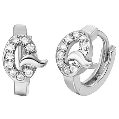 "Gifr for Boyfriend High Quality Silver Plated Letter ""Q"" Men's Stud Earrings(1 pr)"