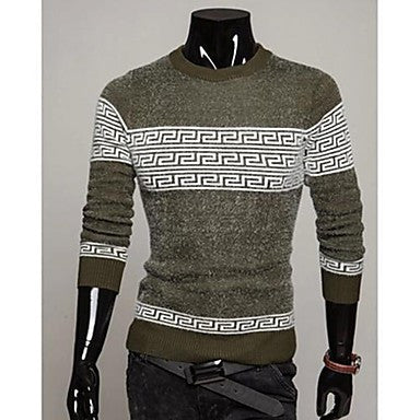 Men's Round Collar Long Sleeve Knitwear Pullover