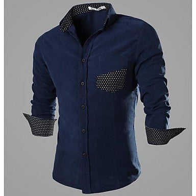 Men's Cultivate One's Morality Corduroy Long-sleeved Shirt