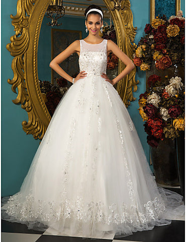 Princess Ball Gown Scoop Court Train Chapel Train Tulle Wedding Dress