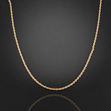 59cm,3mm,18K Gold Plated Thin Figaro Chain Men's Swirl Chain Necklace,Lobster Clasp,Uneasy Fade