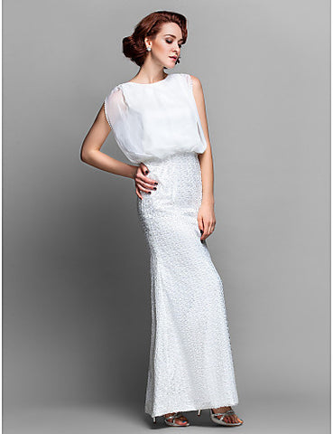 Sheath/Column Bateau Floor-length Chiffon And Lace Mother of the Bride Dress