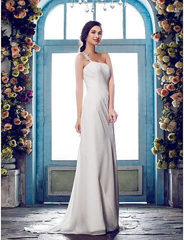 Sheath/Column One Shoulder Sweep/Brush Train Chiffon Wedding Dress (636696)