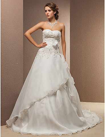 A-line Strapless Court Train Organza And Lace Wedding Dress