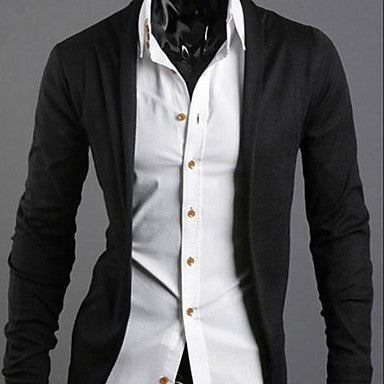 Men's Lapel Collar Solid Color Cotton Causel Long Sleeve Outwear