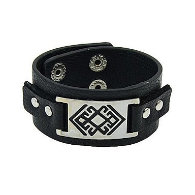 2015 New Coming Punk Style Big Leather Bracelet